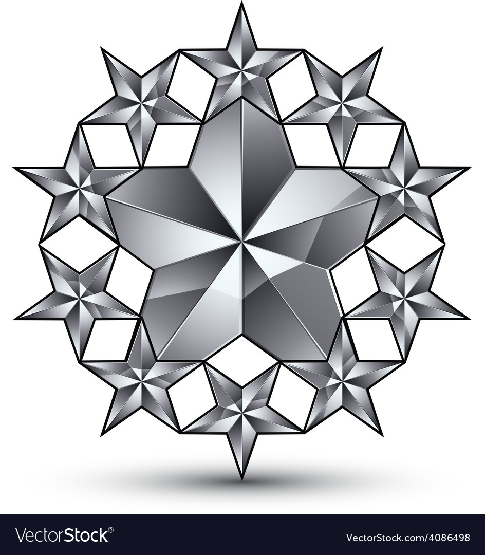 Glamorous rounded template with pentagonal silvery vector | Price: 1 Credit (USD $1)