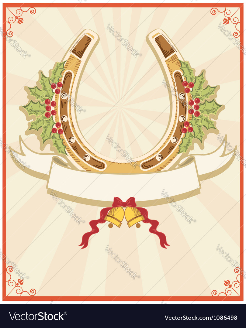 Horseshoe on christmas background with holly berry vector | Price: 1 Credit (USD $1)