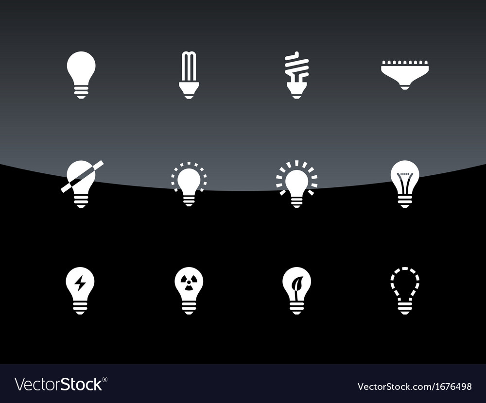 Light bulb and cfl lamp icons on black background vector | Price: 1 Credit (USD $1)