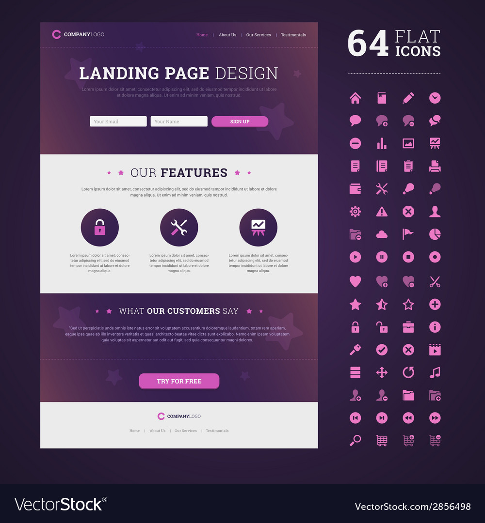 One page design landing page vector | Price: 1 Credit (USD $1)