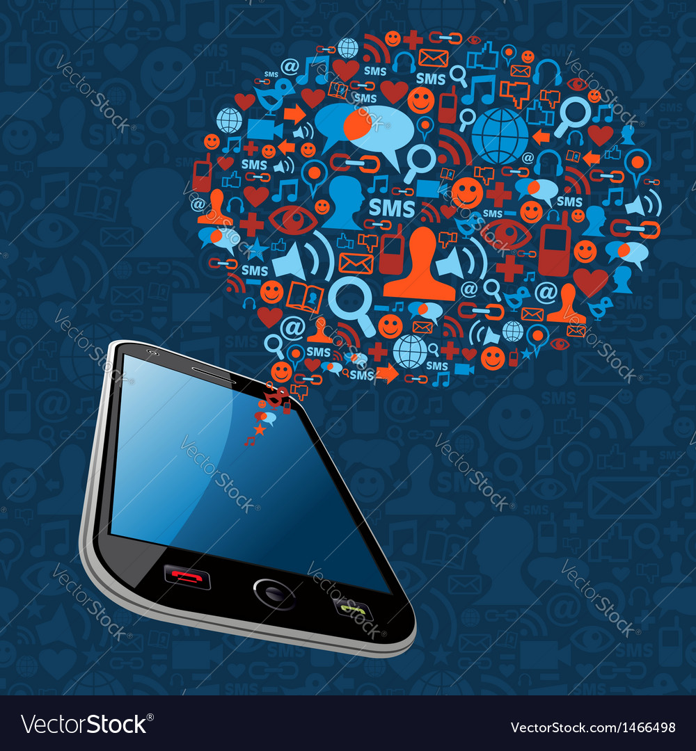 Social media bubble smart phone vector | Price: 1 Credit (USD $1)