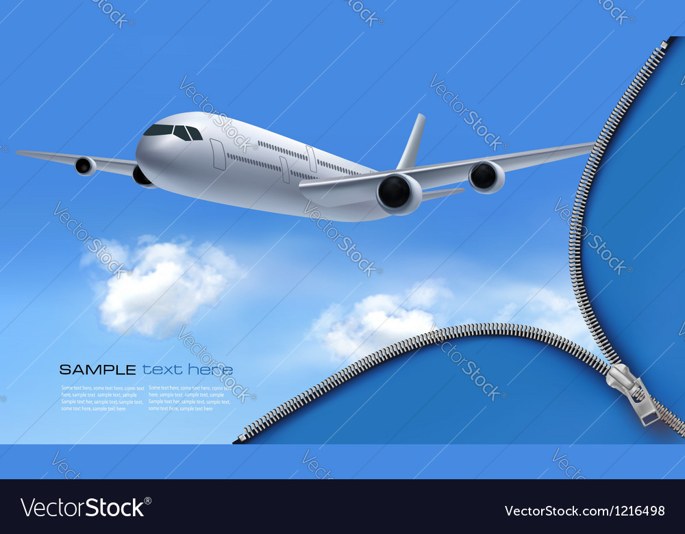 Travel background with airplane and white clouds vector | Price: 1 Credit (USD $1)