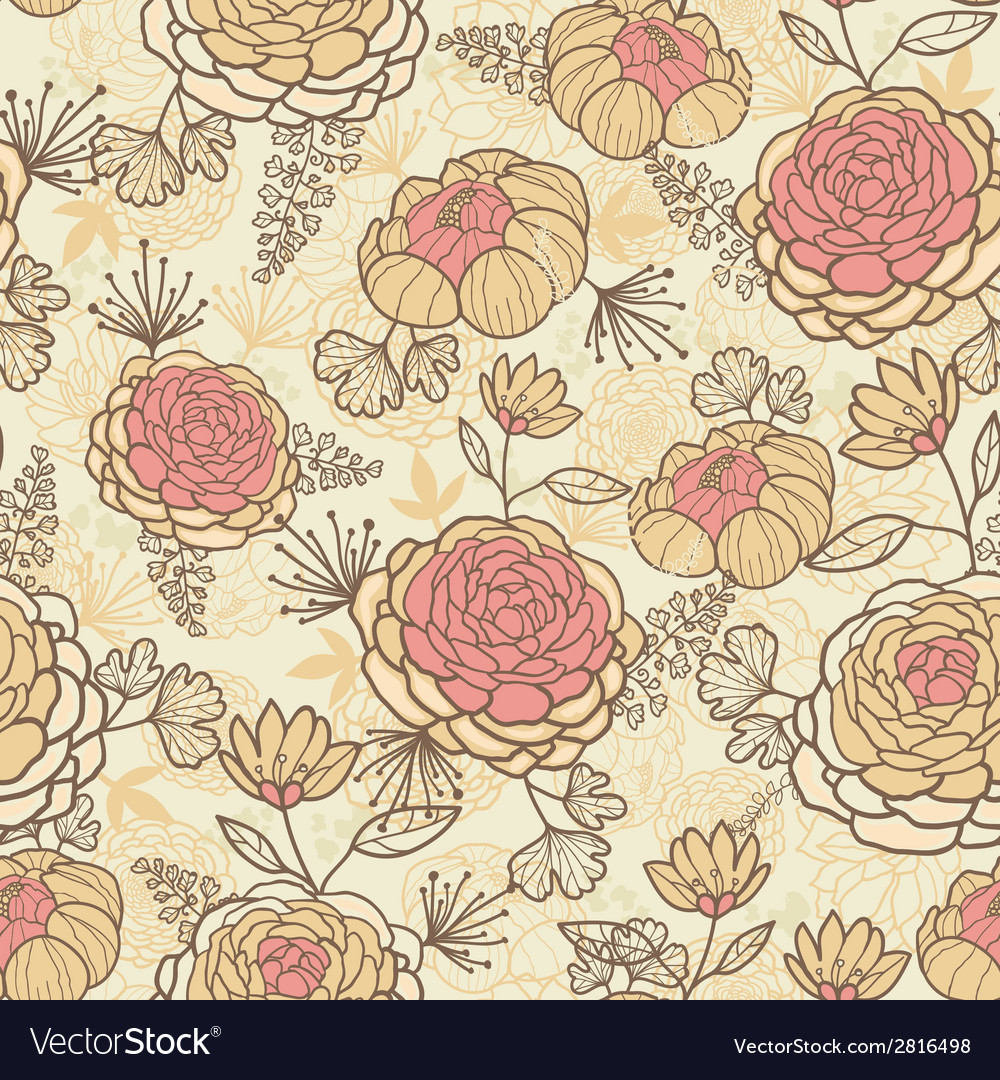 Vintage brown pink flowers seamless pattern vector | Price: 1 Credit (USD $1)