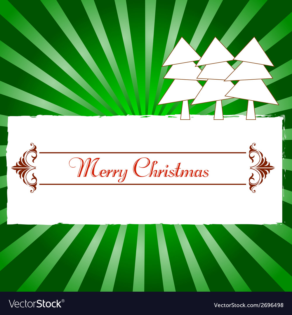 Vintage christmas card with tree and ornaments vector | Price: 1 Credit (USD $1)