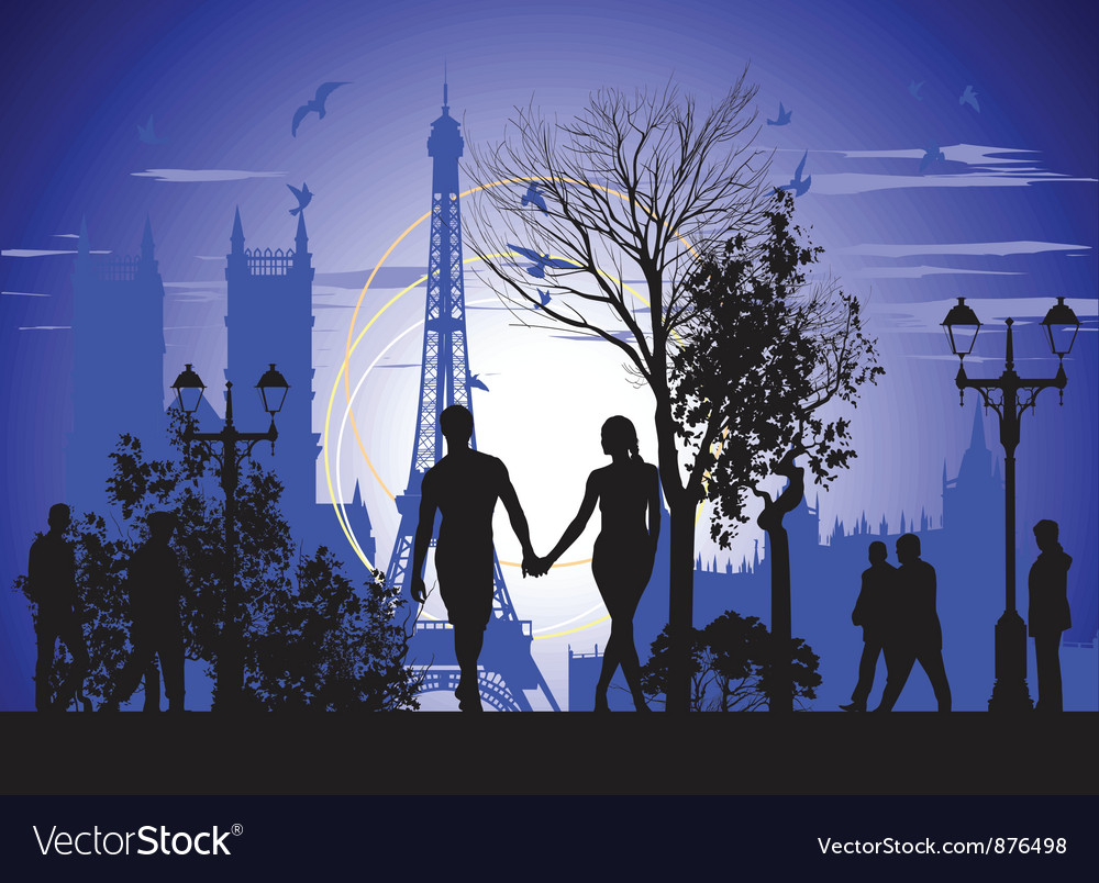 Walking on the streets of paris vector | Price: 1 Credit (USD $1)