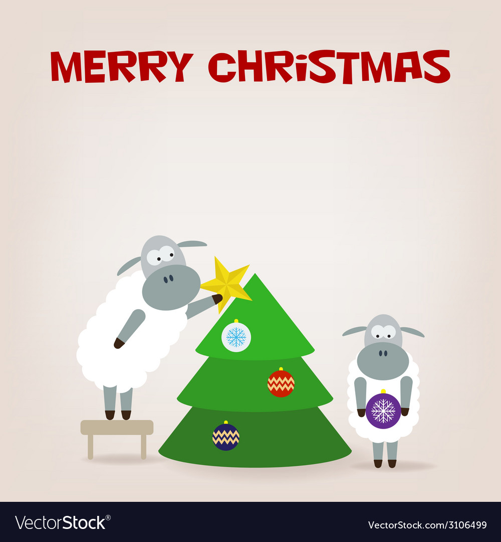 Cartoon funny sheep dresses up a fir-tree vector | Price: 1 Credit (USD $1)