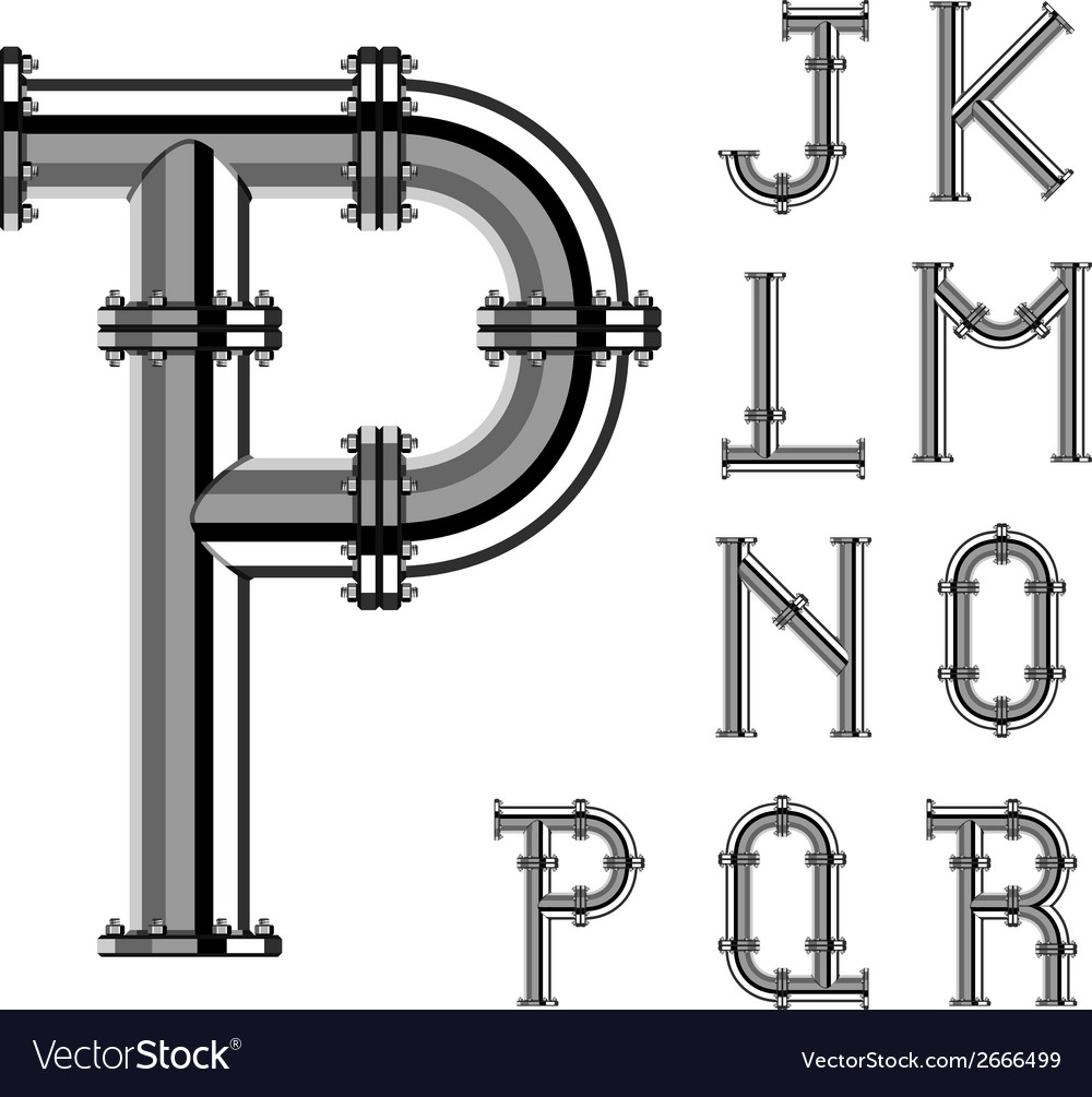 Chrome pipe alphabet letters part 2 vector | Price: 1 Credit (USD $1)