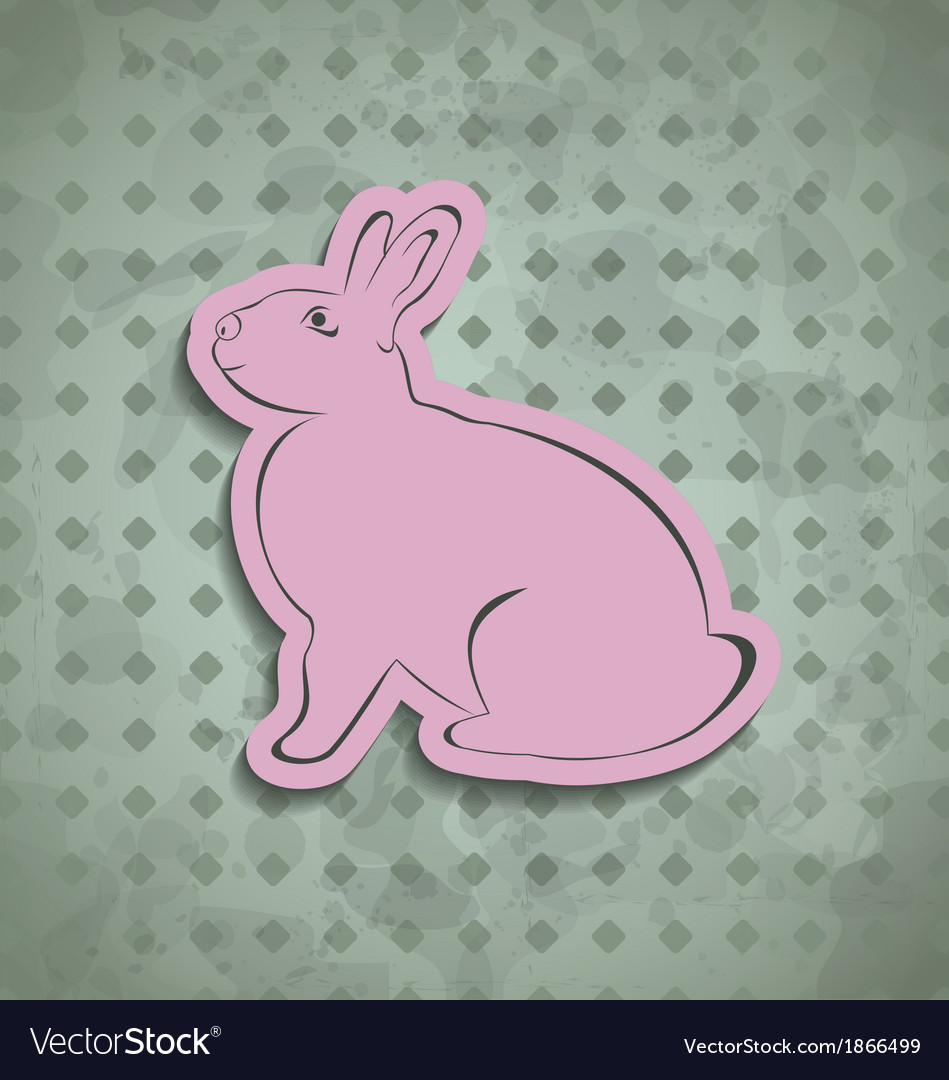 Easter happy vintage poster with pink bunny vector   Price: 1 Credit (USD $1)