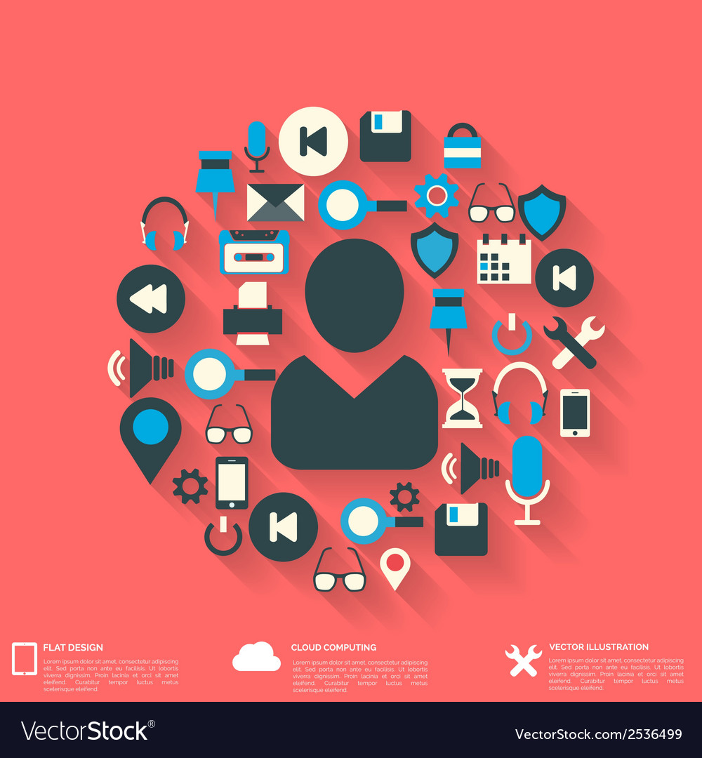 Flat abstract background with web icons interface vector | Price: 1 Credit (USD $1)