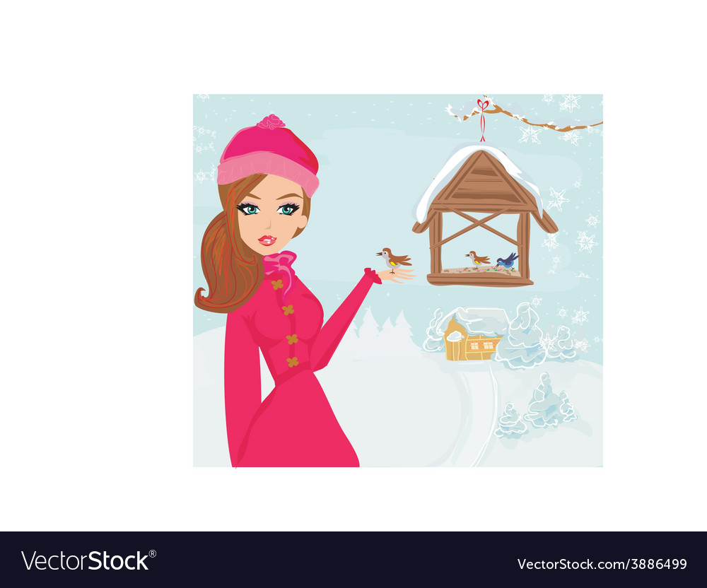 Girl feeds the birds in winter vector