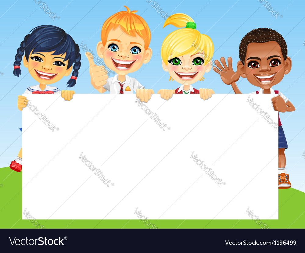 Happy smile kids and horizontal banner vector | Price: 3 Credit (USD $3)
