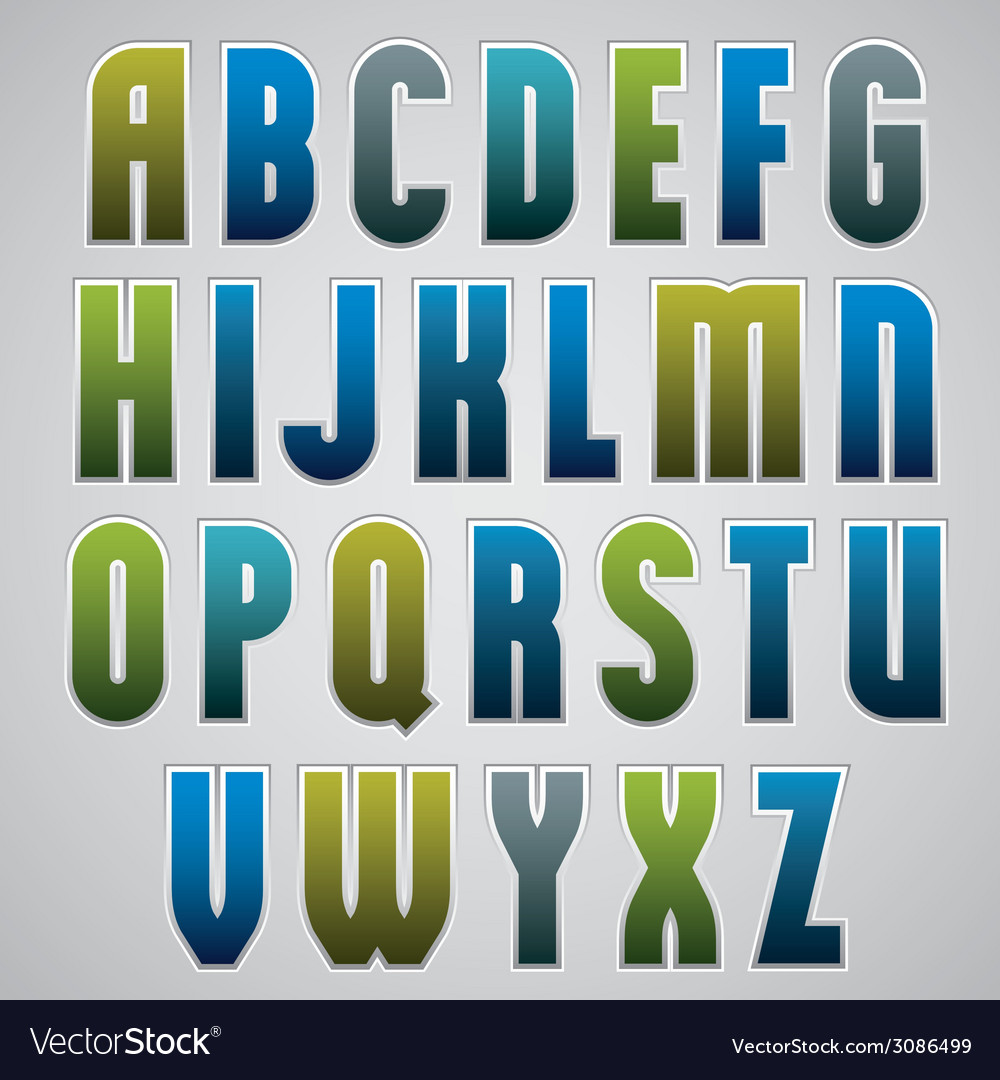 Retro alphabet bold and condensed font in retro vector | Price: 1 Credit (USD $1)