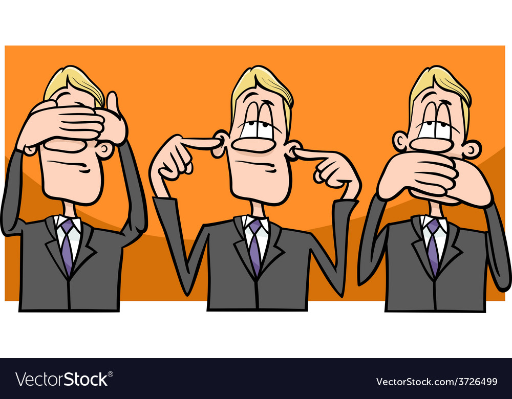 See hear speak no evil cartoon vector | Price: 1 Credit (USD $1)