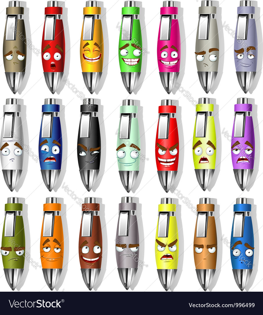 Souvenir smile face pens vector | Price: 1 Credit (USD $1)