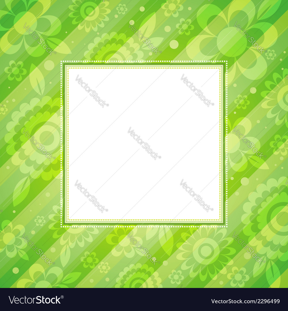 Square frame with flowers on green background vector   Price: 1 Credit (USD $1)