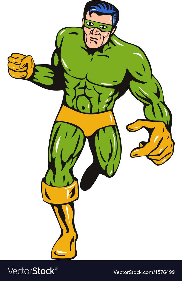Super hero running punching retro vector   Price: 1 Credit (USD $1)