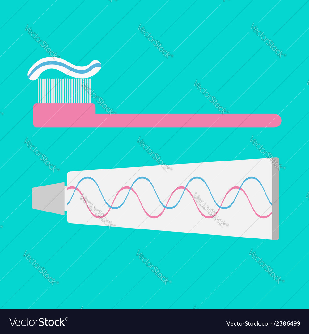Toothbrush and toothpaste tube flat design style vector | Price: 1 Credit (USD $1)