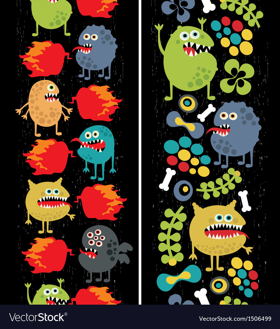 Two vertical seamless patterns with monsters vector | Price: 3 Credit (USD $3)