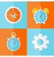Business icons orange and blue set vector