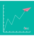 Origami pink paper plane and zigzag scale love vector
