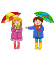 Kids with umbrellas vector