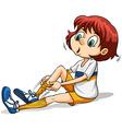 A girl pulling her sock vector