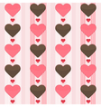 Seamless pattern with many brown and red hearts on vector