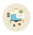 Flat design office work pictogram vector