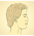 Sketch cute man in profile vector