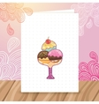 Postcard with ice cream on doodle background vector