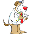 Cartoon dog doctor vector