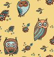 Set of funny owl with flowers sketch doodle vector