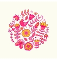 Circle made of flowers and birds round s vector