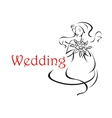 Bride with long curly hair wedding card vector