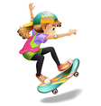 A lady with a colourful skateboard vector