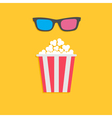 3d glasses and big popcorn cinema icon in flat dsi vector