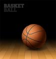 Basketball on a hardwood court floor vector