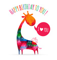 Greeting card with cute colorful giraffe happy vector
