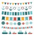 Sea theme garland vector