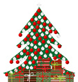 Christmas tree and gift boxes on white background vector