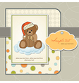 Customizable greeting card with teddy bear vector
