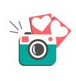 Love flat photo camera with hearts photo frames vector