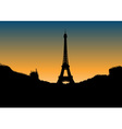 Black silhouette of eiffel tower vector