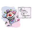 Clown holding a baby shower card vector