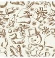 Merry christmas hand drawn seamless pattern design vector