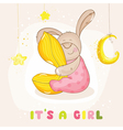 Baby shower or arrival card - with baby bunny vector