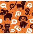 Cartoon seamless pattern with funny cats and dogs vector