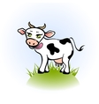 Licking cow on a green field vector