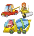 Set of construction vehicle animal cartoon vector