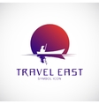 Travel east concept symbol icon or logo template vector